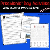 Presidents Day Web Quest and Word Search Activities