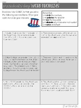 Presidents' Day Word Problems with&without CUBES