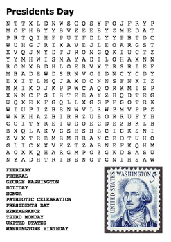 Presidents Day Word Search