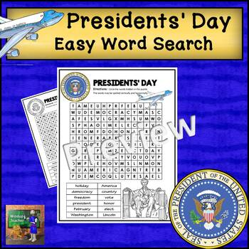 Presidents' Day Word Search - Easy