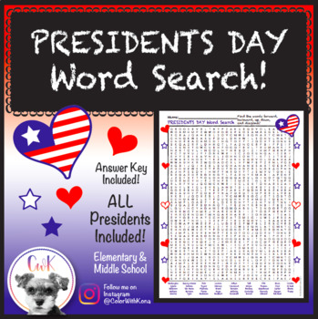 Presidents Day Word Search Puzzle!