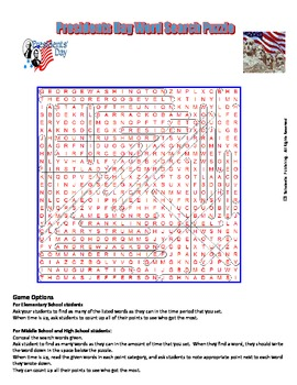 Presidents Day Word Search Puzzle for fun in all classes