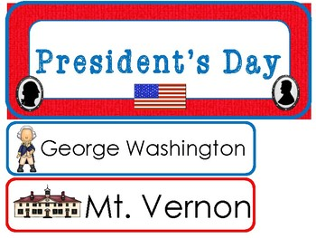 President's Day Word Wall Weekly Theme Posters.