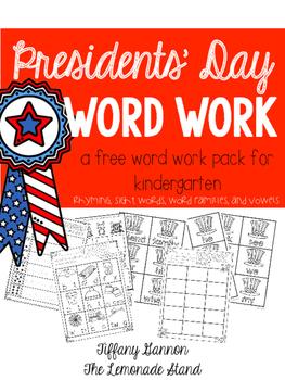 Presidents' Day Word Work Freebie