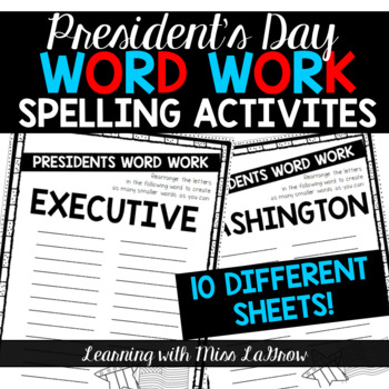 Presidents' Day Word Work Spelling Unscramble Activities