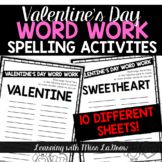 Valentines Day Word Work Spelling Unscramble Activities