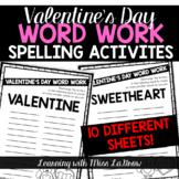 Valentines Day Word Work Spelling Unscramble Activities