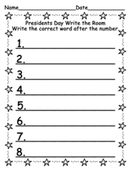 Presidents Day Write the Room
