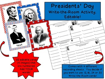 Presidents' Day Write-the-Room Activity {Editable Cards}
