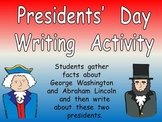 Presidents' Day Writing Activity- Kindergarten & First Grade