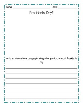 President's Day Writing Pack- common core aligned