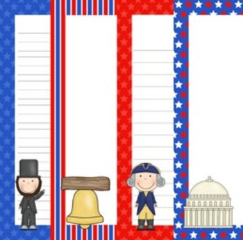 Presidents Day Writing Paper - 3 Styles - (7 1/2 x 10)