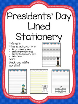 Presidents' Day Writing Paper