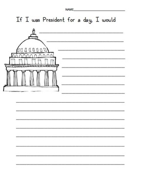 Presidents Day Writing Prompt Worksheet by Donald Lipham | TpT