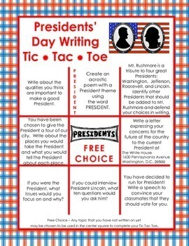 Presidents' Day Writing - Tic Tac Toe