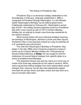 Presidents' Day Writing prompt with textual information