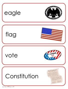 President's Day and Election Vocabulary Cards and Spelling Practice
