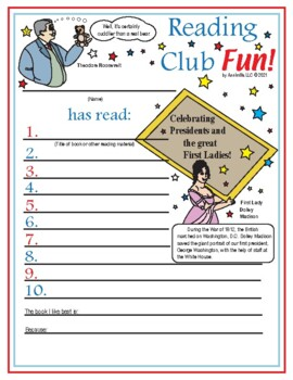 Presidents Day and the First Ladies Reading Log and Certificate Set