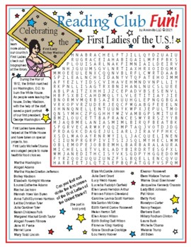 Presidents Day and the First Ladies Word Search Puzzle