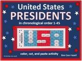 U.S. Presidents in order 1-45 (Color Cut Paste activity)
