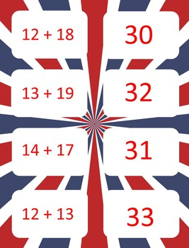 Presidents Day - patriotic theme - Basic Addition Fact Game - Card game of War