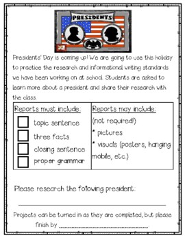 Presidents' Day Research Project