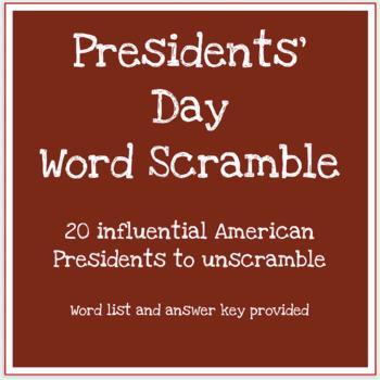 Presidents' Day scrambled words worksheet