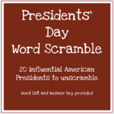 Presidents' Day scrambled words worksheet
