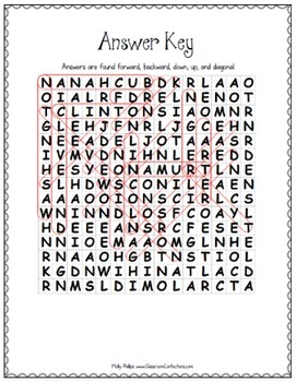 US Presidents Activity: Word Search: Fun for Presidents' Day