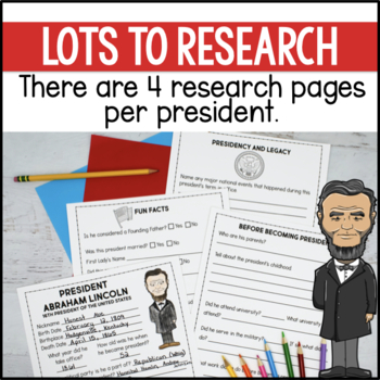 Presidents Fact Research Activity Sheets