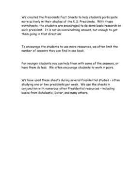 Presidents Fact Sheets