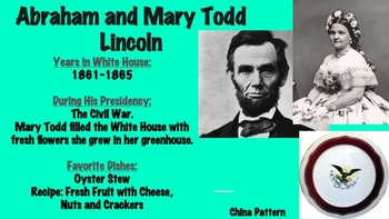 Presidents & First Ladies Favorite Food PowerPoint; Cooking, Culinary