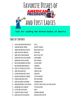 Presidents & First Ladies Favorite Food Recipe Booklet; Grades 1-12, FACS