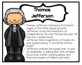 Presidents Fun Facts Posters Social Studies for Second and Third Grade
