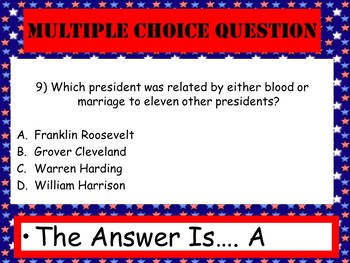 Presidents Fun Facts PowerPoint Game with video links- Trivia, U.S. History