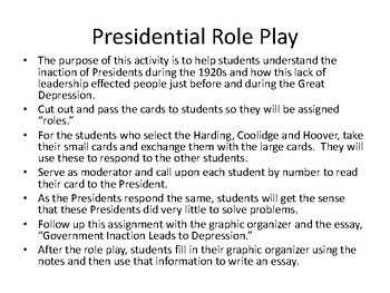 Presidents Harding Through Hoover Role Play, Notes, Graphic Organizer, Essay