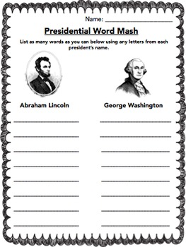 Presidents Lincoln & Washington Word Games, Writing Prompt, Bookmarks & more