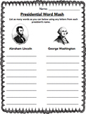 Presidents Lincoln & Washington Word Games, Writing Prompt