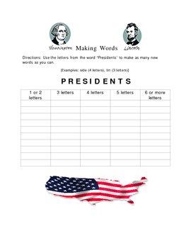 Presidents Making Words