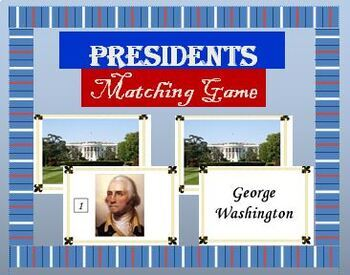 Presidents Matching Game - Full Edition