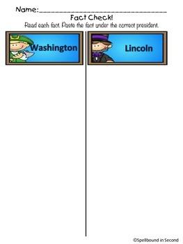 Presidents Mini-Unit Washington & Lincoln Comprehension Activities & Crafts