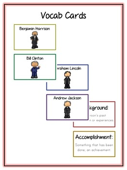 14 Presidents Pack 1 Research Project - Vocab, Rubrics, Packet, Book + More