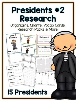 Presidents Pack 2 Research Project - 15 Vocab Cards, Packet, Book + More