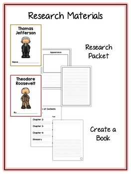 15 Presidents Pack 3 Research Project - Vocab Cards Rubrics, Packet, Book + More