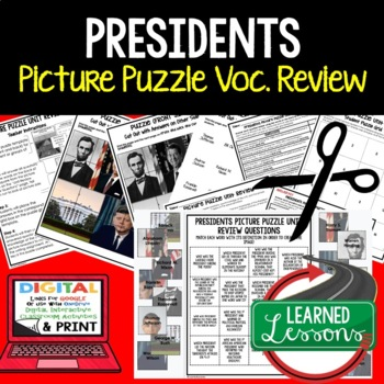 Presidents Picture Puzzle Unit Review, Study Guide, Test Prep
