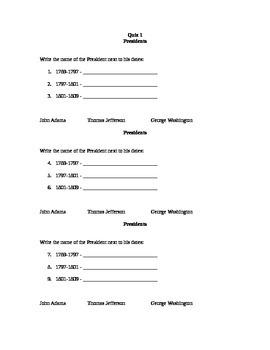 Presidents Quizzes
