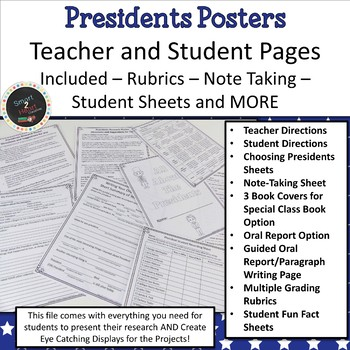 President's Day Research Project - Research Report Posters FREEBIE SAMPLE