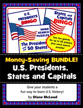 Presidents, States, and Capitals BUNDLE! Bingo Games and Word Searches