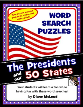 Presidents, States and Capitals Word Search Puzzles