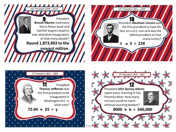 Presidents',Veterans'/Memorial,Martin Luther King Jr : Math Task Card Bundle 4-6